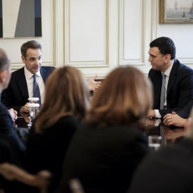 Συνάντηση του Πρωθυπουργού με μέλη του Δ.Σ. της Ένωσης Ελλήνων Εφοπλιστών για την υπογραφή μνημονίου με το Υπ. Υγείας για χορηγίες σε νοσοκομεία